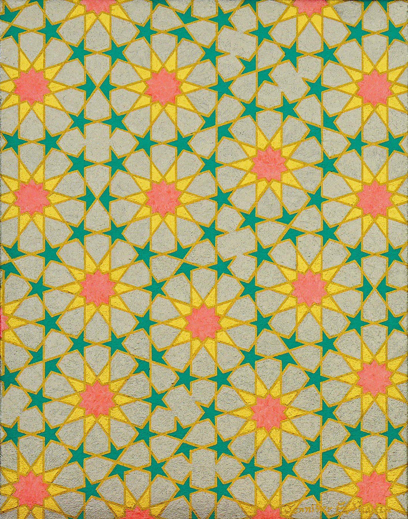 Painting of a Penrose tiling with an Islamic geometric motif