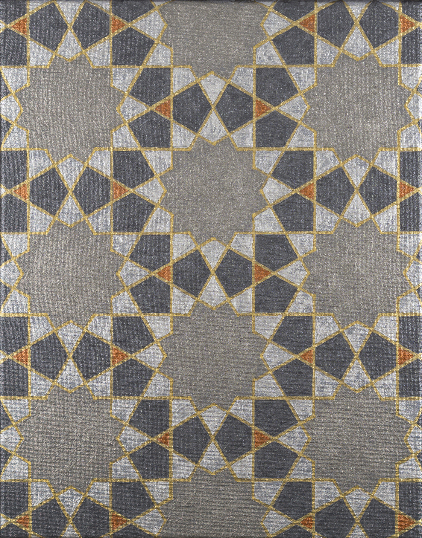 Painting of a repeated motif from the Great Mosque of Herat in plane group p6m