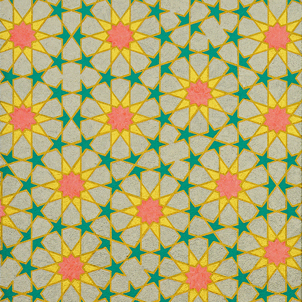 Painting of a Penrose Tiling motif in Islamic geometric 